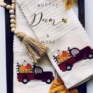 Autumn Red Truck Embroidered Kitchen Towels